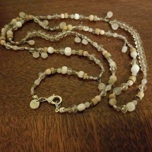 Loft long shiny beaded necklace peach /wjite tones